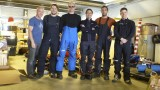 In the warehouse - from left: me, Leo, Paul, Fabio, Christophe and Nat